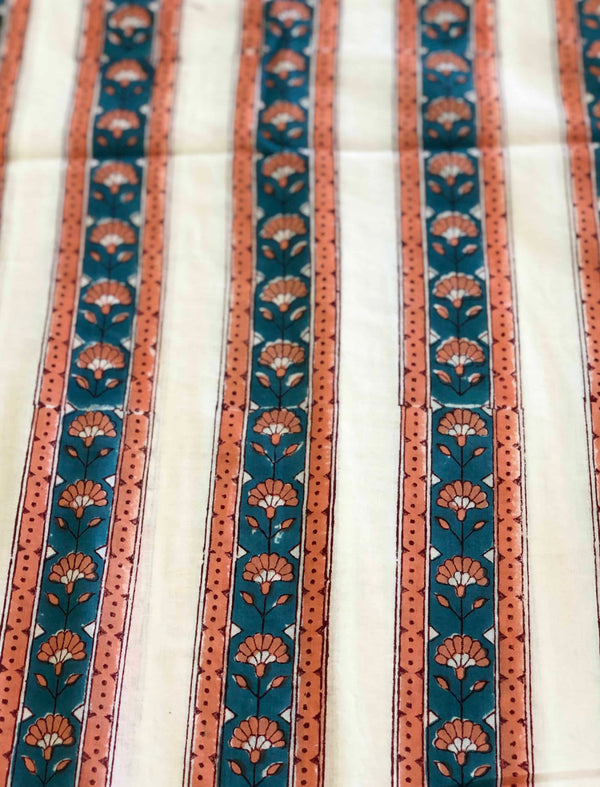 Off white Teal Border Sanganeri Handblock Fabric