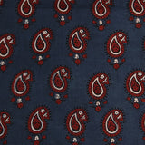 Natural Dyed Indigo - Red Paisley Ajrakh Cotton Fabric