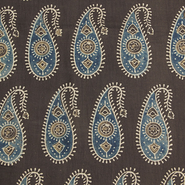 Natural Dyed Earthy - Indigo Paisley Ajrakh Cotton Fabric