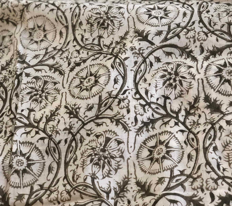 Off white Grey Mul Kalamkari Handblock Fabric