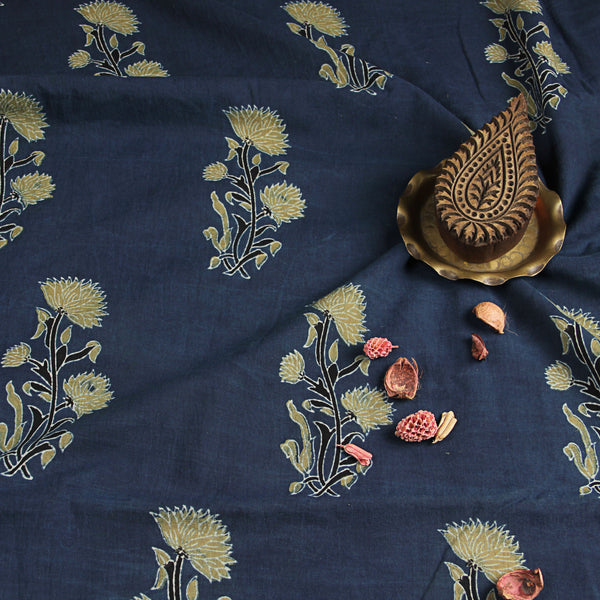 Natural Dyed Indigo Ajrakh Cotton Fabric