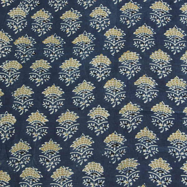 Natural Dyed Indigo Tajj Butti Ajrakh Cotton Fabric
