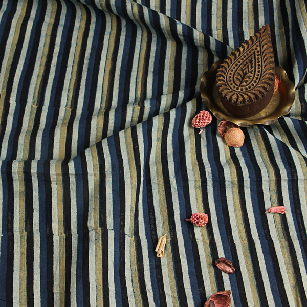 Natural Dyed Indigo - Yellow Ajrakh Cotton Fabric