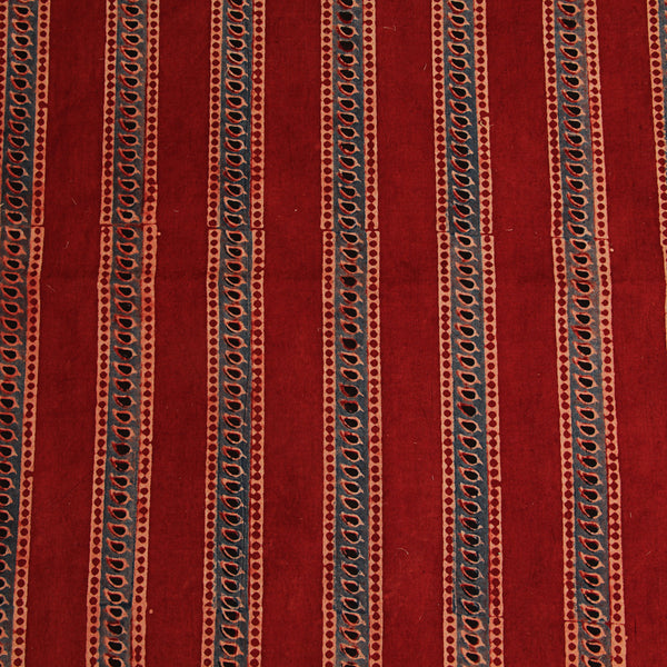 Natural Dyed Red - Black Leaf Ajrakh Cotton Fabric