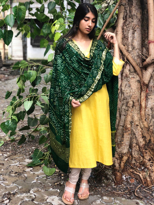 Sunshine Yellow Gota Detail Kurta + Dupatta
