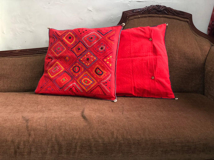Red Square Hand Embroidered Cushion Cover