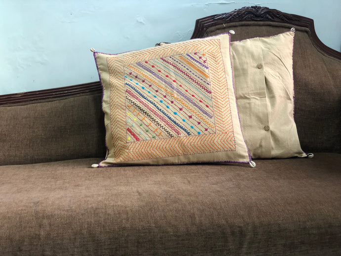 Ivory Hand Embroidered Cushion Cover