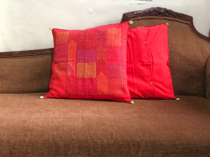 Red Hand Embroidered Cushion Cover
