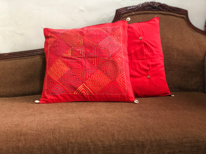 Madder Square Hand Embroidered Cushion Cover