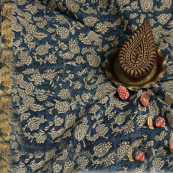 Natural Dyed Indigo Jaal With Border Cotton Block Print Fabric