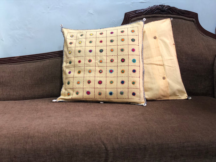 Cream Mirror Work Hand Embroidered Cushion Cover
