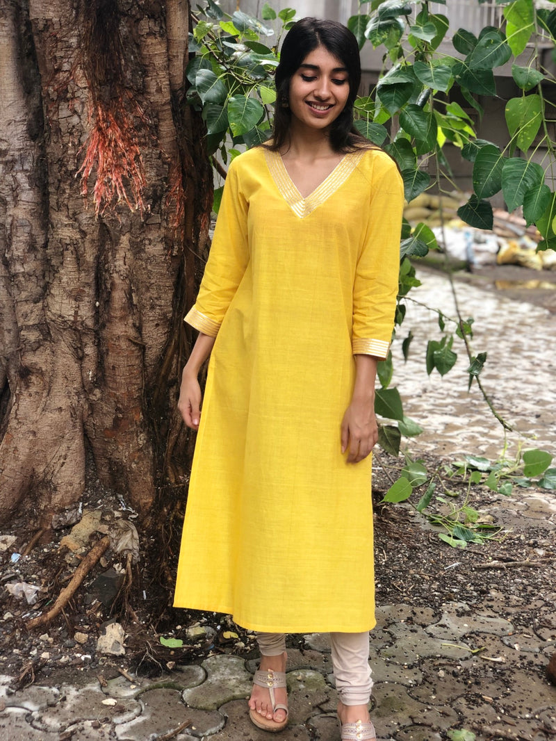 Sunshine Yellow Gota Detail Kurta