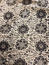 Off white Black Jaal Mul Kalamkari Handblock Fabric