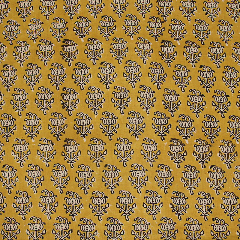 Yellow Bagru Hand Block Printed Cotton Fabric