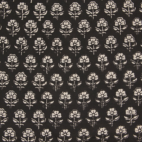 Black Small Flower Hand Block Printed Cotton Fabric