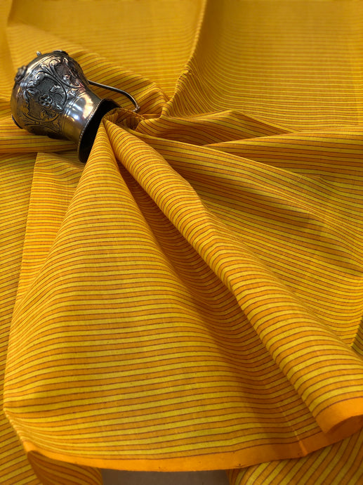 Mangalgiri Lime Yellow Stripes Fabric