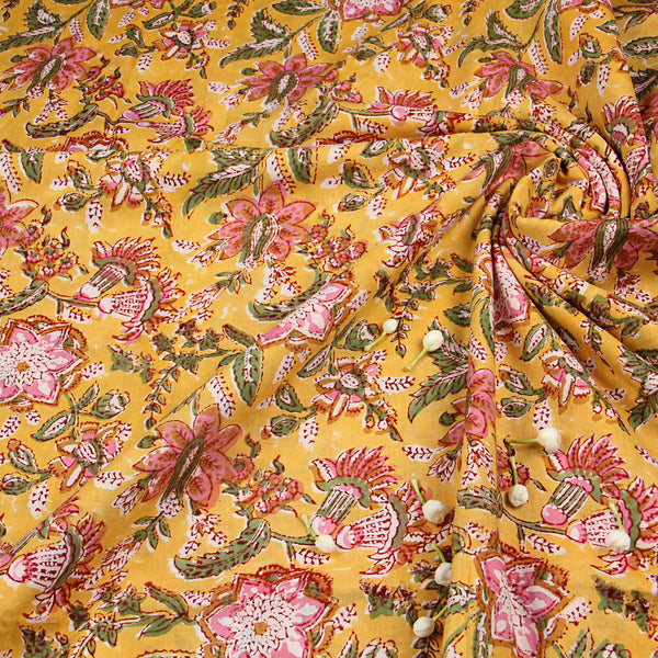 Yellow Sanganeri Hand block Print Fabric