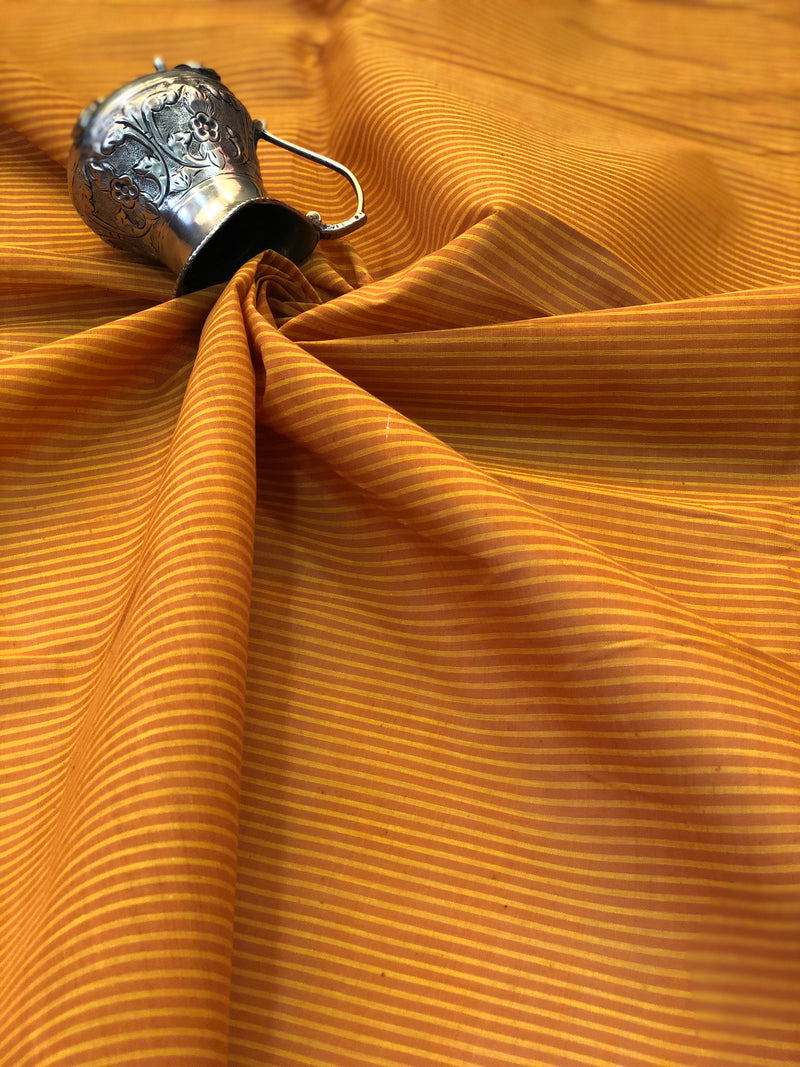 Mangalgiri Mustard Yellow Stripes Fabric