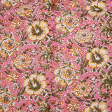 Pink Flower Bagru Hand Block Printed Cotton Fabric