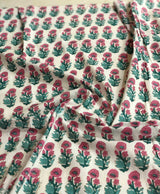 Pink and Green Flower Motiff Block Print Fabric(0.80m)