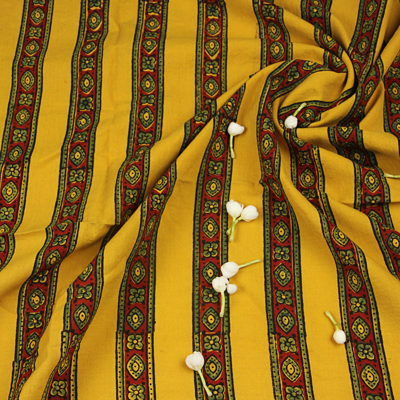 Natural Dyed Yellow Border Ajrakh Cotton Fabric