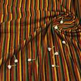 Natural Dyed Multicolor Stripes Ajrakh Cotton Fabric