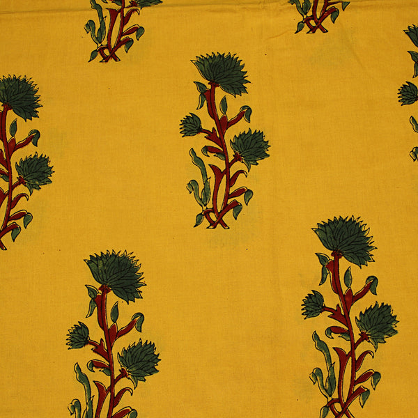 Natural Dyed Yellow  - Green Butta Ajrakh Cotton Fabric