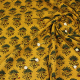 Natural Dyed Yellow - Green Tajj Butti Ajrakh Cotton Fabric