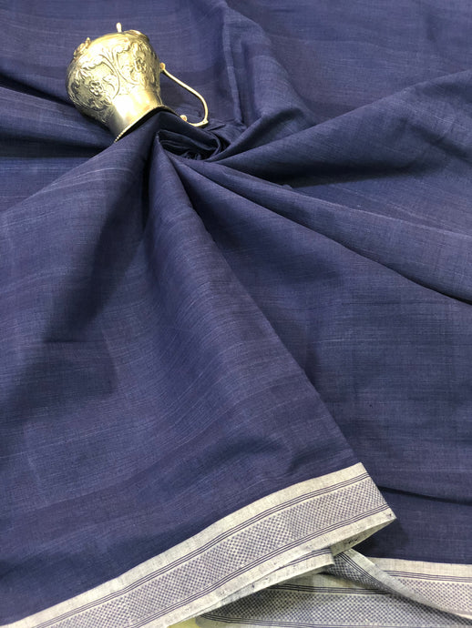 Mangalgiri Indigo Grey Border Fabric