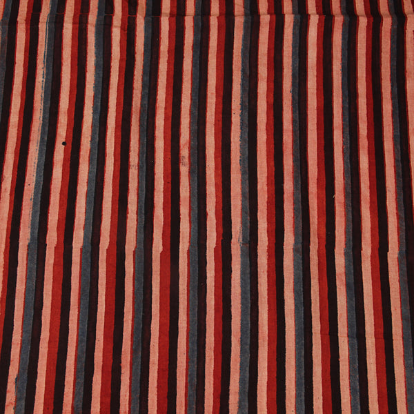 Natural Dyed Red - Blue Stripes Ajrakh Cotton Fabric