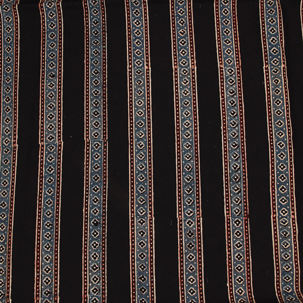 Natural Dyed Black Ajrakh Cotton Fabric