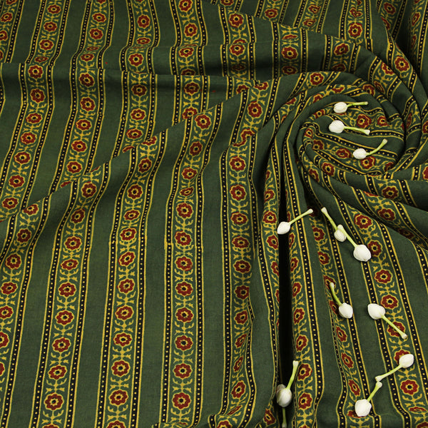 Natural Dyed Green - Red Flower Ajrakh Cotton Fabric