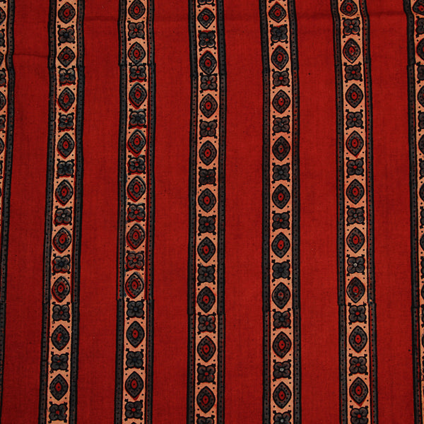 Natural Dyed Red Ajrakh Cotton Fabric