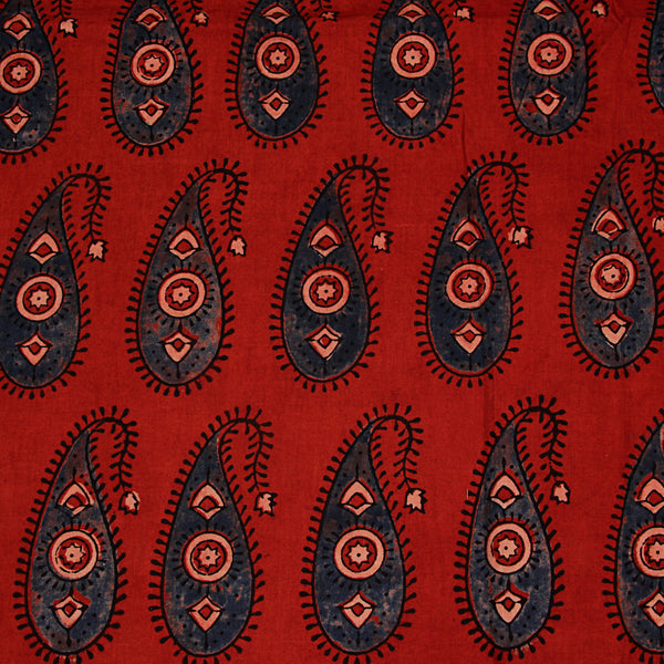 Natural Dyed Red - Indigo Ajrakh Cotton Fabric