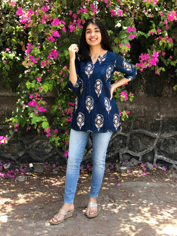 Neeti Indigo Boota Short Top