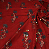 Natural Dyed Red - Indigo Butta Ajrakh Cotton Fabric