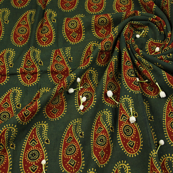 Natural Dyed Green - Red Ajrakh Cotton Fabric