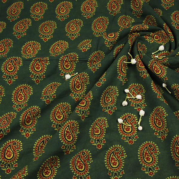 Natural Dyed Green Ajrakh Cotton Fabric