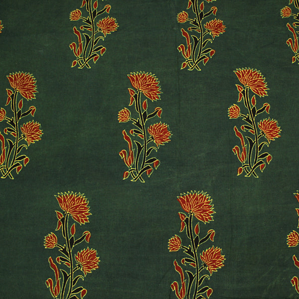 Natural Dyed Green - Red Butta Ajrakh Cotton Fabric