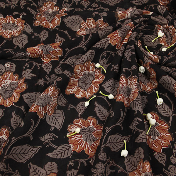 Black Flower Bagru Hand Block Printed Cotton Fabric