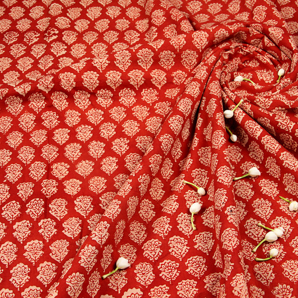 Red Bagru Hand Block Printed Cotton Fabric