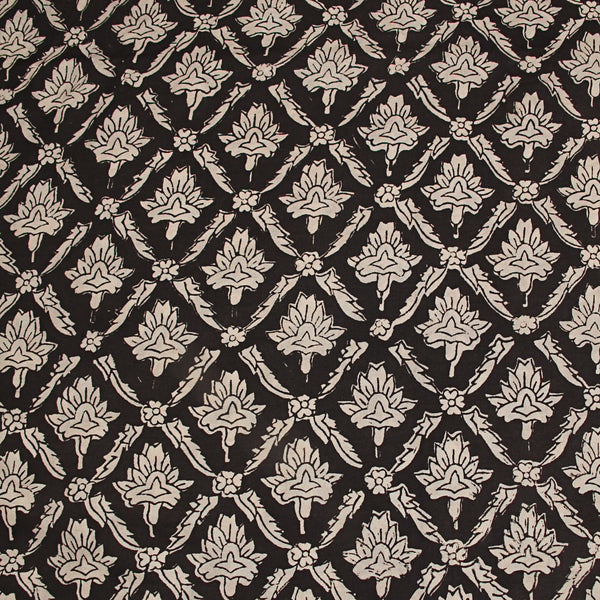 Black Bagru Hand Block Printed Cotton Fabric