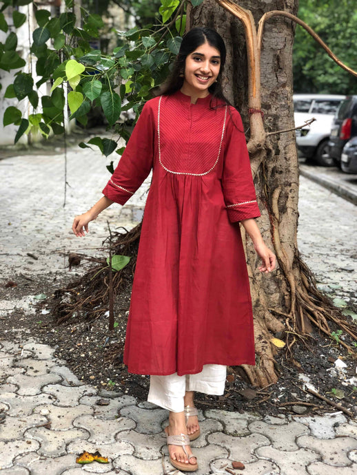 Deep Red Gota Detail Kurta