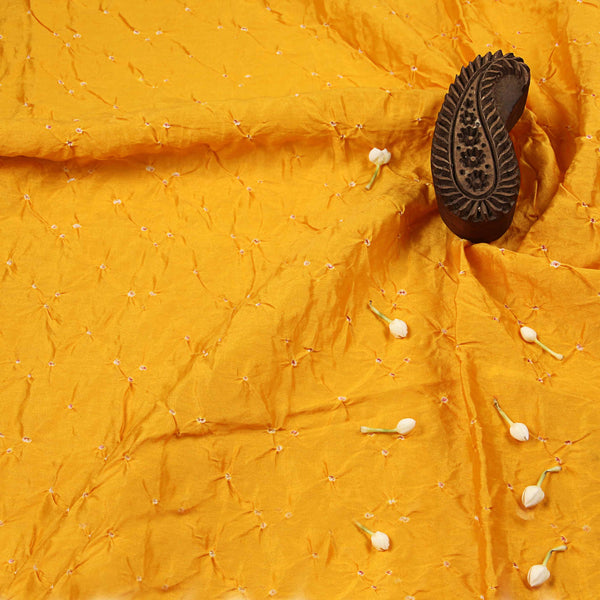 Yellow Chanderi Bandhej Fabric