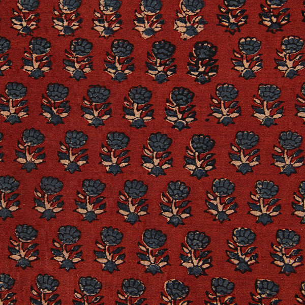 Red Ajrakh Small Butti Chanderi Natural Dyed Fabric