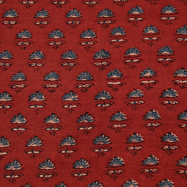 Red Ajrakh Tajj Butti Chanderi Natural Dyed Fabric