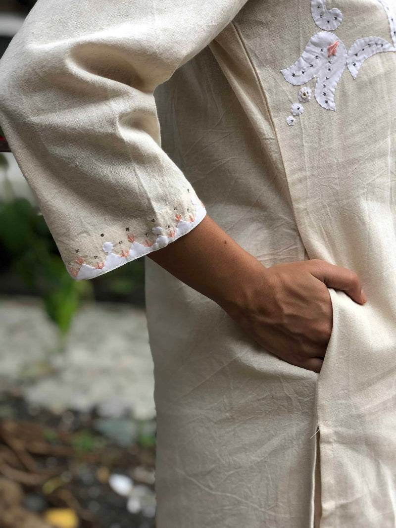 Off - White Floral Hand Embroidery + Mukaish Work Kurta