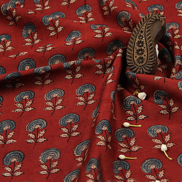 Red Ajrakh Blossom Chanderi Natural Dyed Fabric