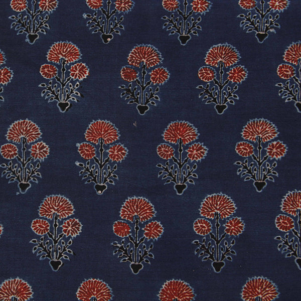 Blue Ajrakh Small Dahlia Chanderi Natural Dyed Fabric