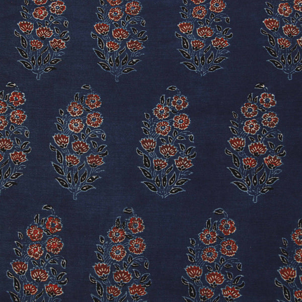 Blue Ajrakh Chanderi Natural Dyed Fabric
